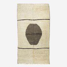 Lot 271: Moroccan. carpet. c. 1970, hand-woven wool. 77 w x 141 l in. result: $8,125. estimate: $5,000–7,000.