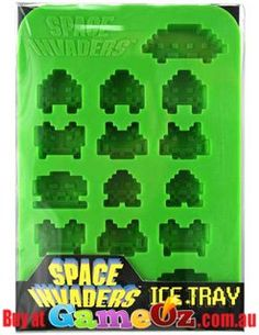 Space+Invaders+Ice+Tray.Add+some+fun+to+your+drinks+with+Space+Invader+shaped+ice+Cubes.+ Resembles+the+aliens+in+the+popular+retro+game+space+invaders.  Brand:+50+Fifty  Hand+wash+only