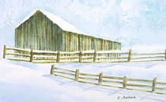 Original Art For Sale Barn in the Snow 4 x 6 by on Etsy Landscape Art, Landscape Paintings, Watercolor Paintings, Watercolors, Art Walk, Snow Scenes, Original Art For Sale, Paintings For Sale, Online Art Gallery
