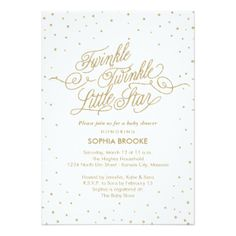 Twinkle Little Star Fancy Gold & White Baby Shower 5x7 Paper Invitation Card