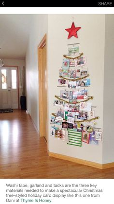 Clever and creative Christmas Card display ideas by The Organsied Housewife. Christmas Card Display, Christmas Card Crafts, Diy Christmas Tree, Christmas Card Holders, Christmas Projects, Simple Christmas, Christmas Time, Holiday Cards, Christmas Ideas
