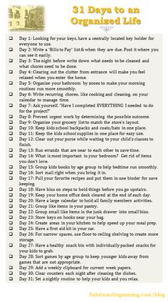31 Days to an organized life with printable checklist, enjoy and stay organized.