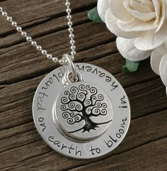 In Remembrance - Planted on earth to bloom in Heaven - Hand stamped Memorial Necklace. $38.00, via Etsy.