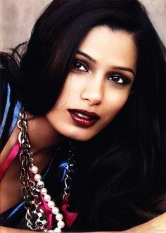 frieda pinto makeup maroon lipstick accessories hair black gorgeous blue series
