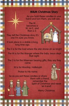 M and M Christmas poem.to help kids remember the true meaning of Christmas. Christmas Poems, Christmas Program, Preschool Christmas, Christmas Nativity, Christmas Activities, A Christmas Story, Christmas Printables, Christmas Traditions, Winter Christmas