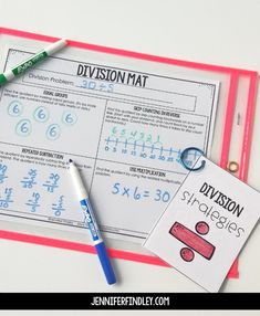 Free Math Intervention Activities for Grades Free math intervention activities for multiplication and division strategies! Use these free work mats and strategy cards to help your students understand and master basic multiplication and division. Multiplication And Division Practice, Teaching Division, Division Activities, Teaching Multiplication, Math Division, Division Strategies, Teaching Math, Math Activities, Multiplication Strategies