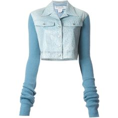 Christian Dior Vintage Cropped Contrast Jacket ($616) ❤ liked on Polyvore featuring outerwear, jackets, blue, long sleeve jacket, christian dior, blue jackets, long sleeve crop jacket and christian dior jacket