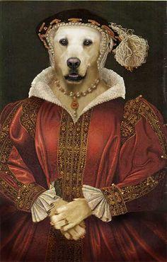 Portrait White Labrador as Catherine Parr
