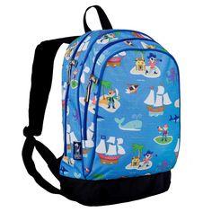 Wildkin Olive Kids Pirates Sidekick Kids Backpack - Blue Pirates