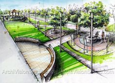 Samples of Architecture Renderings Using Felt Tip Pens (Markers) Marker Landscaping Techniques in Rendering Architectural Landscape Design Croquis Architecture, Plans Architecture, Landscape Architecture Drawing, Landscape Sketch, Landscape Drawings, Landscape Plans, Landscape Designs, Urban Landscape, Landscape Architects