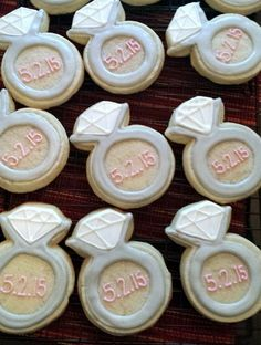 Wedding ring cookies, Engagement ring cookies by TrueConfectionsbyB on Etsy