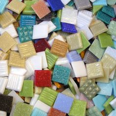 Discount mosaic glass tile for artists and crafters. On sale and sold in bulk loose bags.