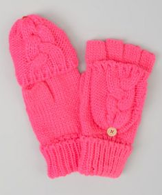 Take a look at this Pink Cable-Knit Convertible Mittens by Toby & Company on #zulily today!