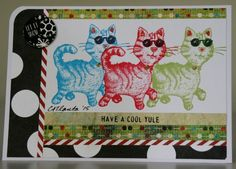 Rubber Stamped Christmas Cool Yule Cat Handmade Greeting Card CATlanta #Handmade #Christmas