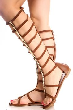 CHESTNUT OPEN TOE MULTI STRAP DESIGN BACK ZIPPER CASUAL KNEE HIGH GLADIATOR SANDALS | Find Out More & Where To Buy By Clicking Picture | affiliate link | TheProductPromoter.com