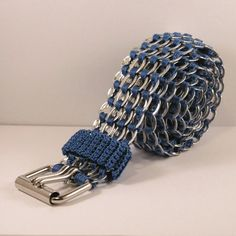 The ultimate in recycling! :)     pop tabs belt  blue crochet regular 39 inch by tabsolute on Etsy