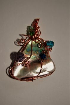 Large Abalone, glass and copper wire wrapped pendant