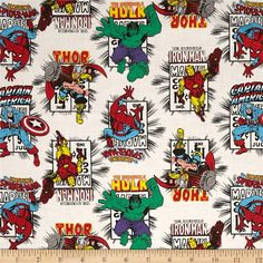 Designed by Marvel and licensed to Springs Creative Products, this cotton print fabric is perfect for quilting, apparel and home decor accents. Colors include black, white, red, blue, purple, green, grey, brown, peach, and yellow. Due to licensing restrictions, this item can only be shipped to USA, Puerto Rico, and Canada.
