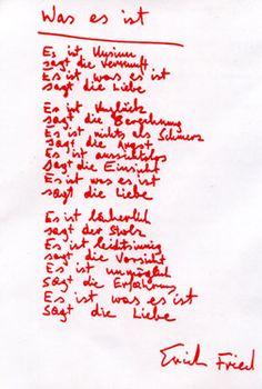 """Erich Fried """"Es ist was es ist. Liebesgedichte, Angstgedichte, Zorngedichte"""", Berlin 1996."""