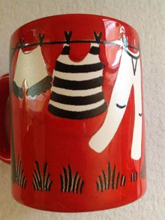 WAECHTERSBACH ~ COFFEE MUG W. GERMANY DESIGN, CLOTHES HANGING ON CLOTHESLINE