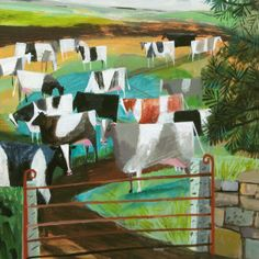 'Round The Gate' by Mary Sumner. Blank Art Cards By Green Pebble. www.greenpebble.co.uk