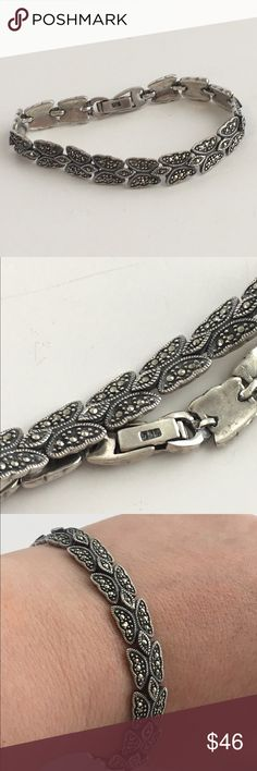 """Sterling Silver Marcasite Butterfly bracelet 925 A lovely vintage Sterling silver bracelet with Marcasite stones and a Butterfly Motif. I love the subtle sparkle of the Marcasite and Silver! Approx 7.75"""" long. Overall nice used condition with some tarnish and light signs of use. NO TRADES!! ❤ Vintage Jewelry Bracelets"""