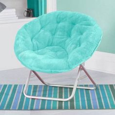 Kids Saucer Chair Furniture Faux Fur Folding Seat Dorm Room Bedroom Fun Aqua…