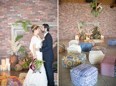 poufs | Bohemian Romance Photo-shoot at The Colony House | Photo Credit: Studio EMP Photography | Green Wedding Shoes