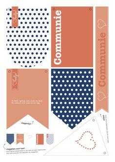 PRINTABLE | communie meisje, girl, blue coral polkadots, blauw, koraal, vlaggetjes, flags, decoratie, decoration, party, feestje