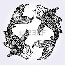 Image result for two koi fish drawing realistic