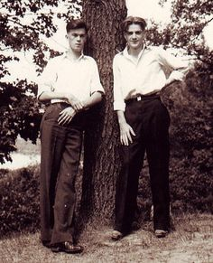 Vintage Photo 2 Handsome Boys Male Models by Tree w Negative 1930s Gay Interest   $40.00