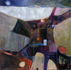 Paysage abstrait. Peinture à l'huile. BENEDICTE GARNIER FIHEY