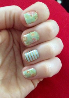 Jamberry nail wraps haven't been crazy about the florals but this is cute to go with the mint & gold stripe I already have!