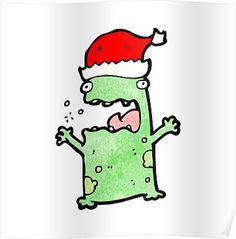 cartoon frog in christmas hat