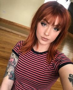 Image may contain: 1 person, stripes, closeup and indoor red hair styles Red Hair With Bangs, Short Red Hair, Bob Haircut With Bangs, Medium Length Hair With Bangs, Medium Red Hair, Red Bob Hair, Red Hair Fringe, Medium Hairstyles With Bangs, Short Copper Hair