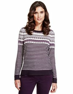 Per Una Fair Isle & Striped Knitted Top - Marks & Spencer