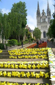 Origami covers the stairs leading to Montee St. Maurice in Angers, France