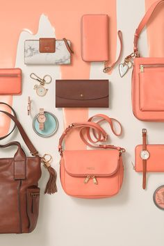 Hue knew (mis)matchy-matchy could look so good? The  bright addition of Papaya to classics like our leather crossbody, clutch wallet, boyfriend watch and more is a spring must-have