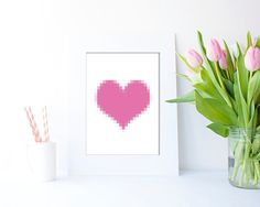 Pink Digital Heart JPEG in 4 sizes by Clickatoos on Etsy