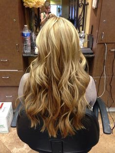 Caramel and golden blonde hair