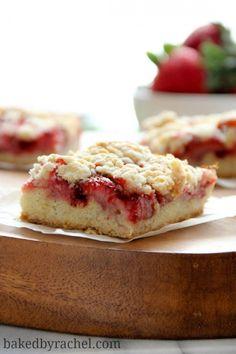 Strawberry Oatmeal Crumb Bars Recipe from bakedbyrachel.com