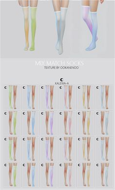 """kalewa-a: """" S4 Mix Match Socks The image is so big, I'm sorry. I love mixing them up so I made them knee high and thigh high. The right ones you'll find under gloves! Go here download her socks! If..."""