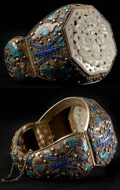 Cloisonne bracelet with Ming Jade. Late Ming Dynasty (1368-1644), China