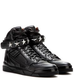 Givenchy - Tyson Stars leather high-top sneakers - Givenchy gives the sneaker a luxe touch with this black pair featuring star-stud detailing. With perforated detailing and a Velcro strap, slip into these street-wise high-tops for off-duty cool. seen @ www.mytheresa.com