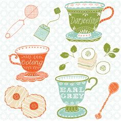 Tea Illustration by Maeve Parker for 2015 Food Calendar. www.maeveparker.com