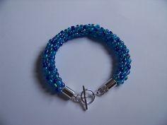 Blue Mix Beaded Kumihimo Bracelet.