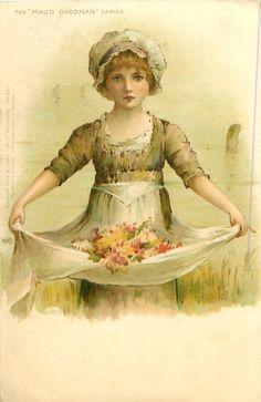 niña con delantal se extendió a sostener las flores silvestres