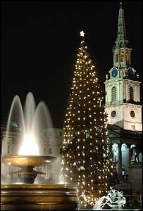 Trafalgar Square. London. We watched the lighting of the famous Christmas tree in December 2009...