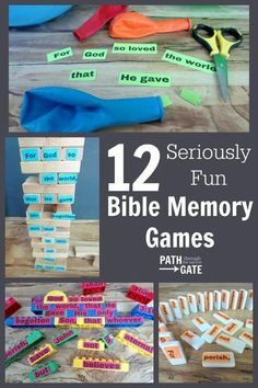 These 12 games will help you make Bible memory time fun – with very little prep time and using objects you probably already have in your home. Sunday School Activities, Church Activities, Sunday School Lessons, Sunday School Crafts, Bible School Games, Kids Church Games, Youth Group Activities, Bible Activities For Kids, Learning Games
