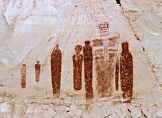 ~ Holy Ghost Panel ~ Utah by RetreatsInSedona....Considered one of the finest examples of prehistoric rock art in the world, the Holy Ghost Panel depicts a large masked figure surrounded by four attendants. Three figures stand in the background, one playing a flute. The three dimensional perspective is extraordinary.""